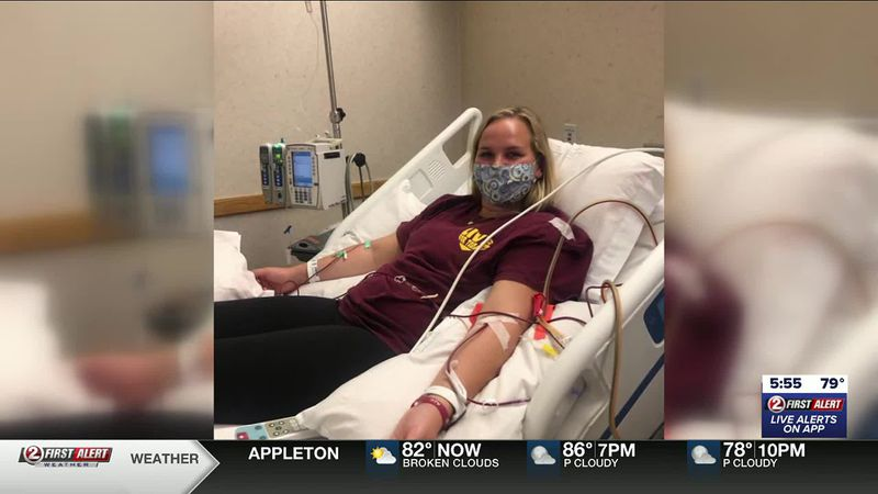Carly Cerrato donates blood stem cell