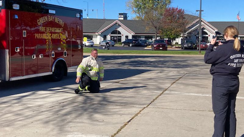 Green Bay Metro Fire Department records a video presentation for schools and day cares