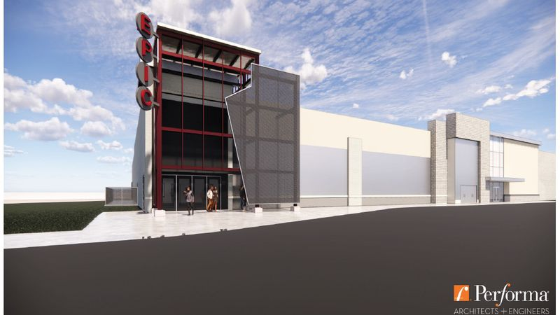 Artist's concept of the EPIC Event Center entrance on Holmgren Way in Ashwaubenon