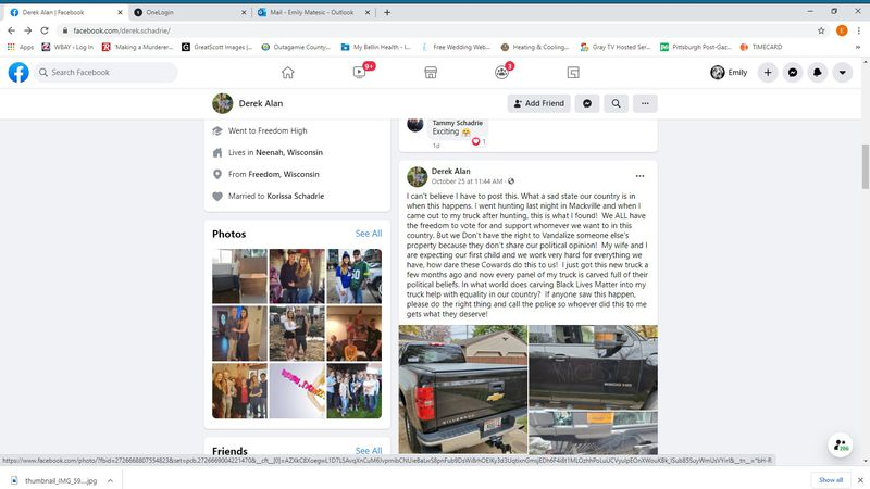 A screenshot of a now viral Facebook post after a Neenah man's truck was vandalized with...