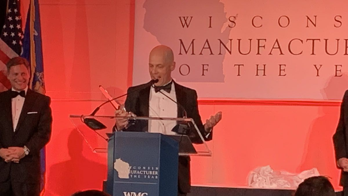 Mercury Marine president John Pfeifer receives the 2019 Wisconsin Manufacturer of the Year award in the Mega size category (Photo provided by Mercury Marine)