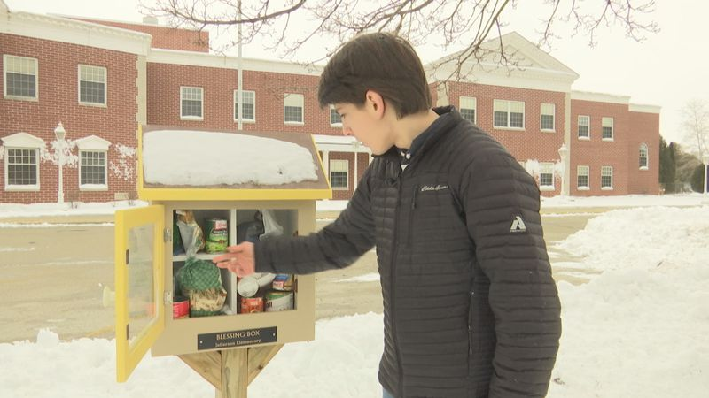 Carson Goetz of Manitowoc placed Blessing Boxes around his town to help families struggling...