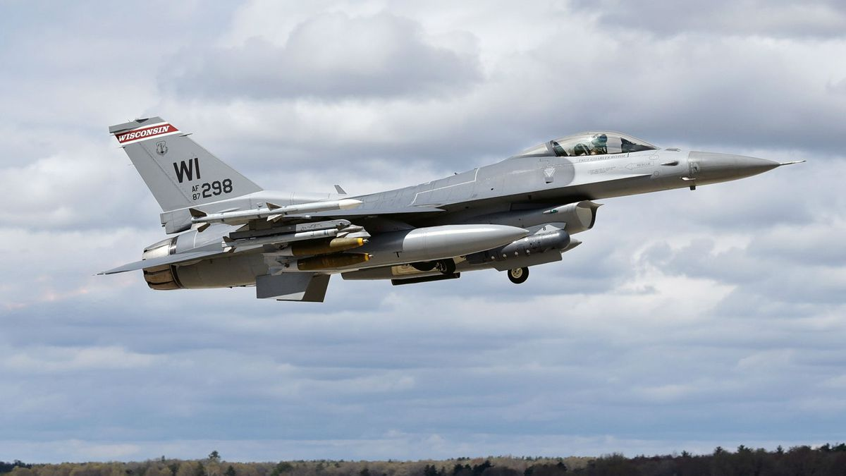 An F-16 Fighting Falcon assigned to the Wisconsin Air National Guard's 115th Fighter Wing at...
