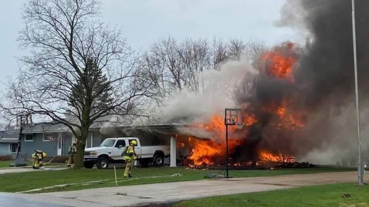 A fire destroyed an attached garage at a home in Fox Crossing on April 8, 2021
