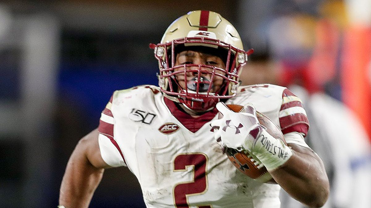 Boston College running back AJ Dillon (2) runs over 50 yards for a touchdown against Pittsburgh during the second half of an NCAA college football game, Saturday, Nov. 30, 2019, in Pittsburgh. Boston College won 26-19. (AP Photo/Keith Srakocic)