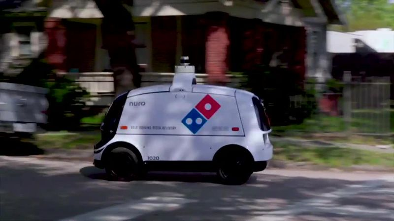 Dominos is testing its robotic delivery service at a select location in Houston.