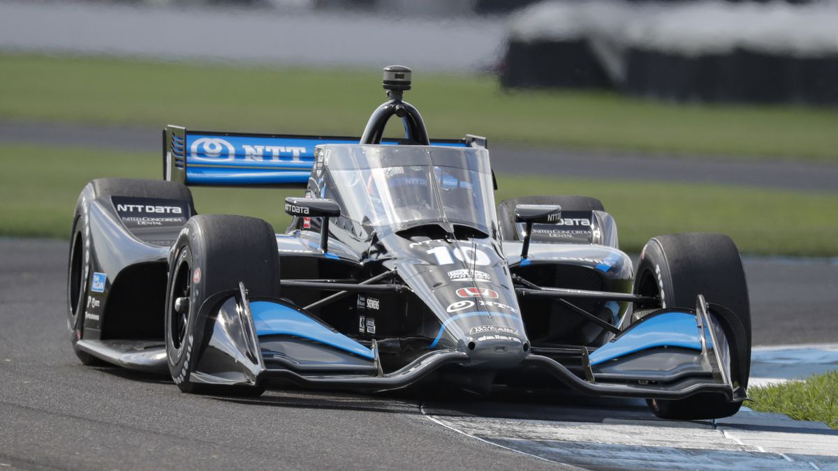 Race driver Felix Rosenqvist, of Sweden, drives through a turn during qualifying for the IndyCar auto race at Indianapolis Motor Speedway in Indianapolis, Friday, July 3, 2020. (AP Photo/Darron Cummings)