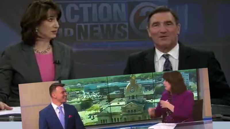 Bill Jartz and Cruz Medina (insert) have both been caught short by adjustable chairs on live TV.