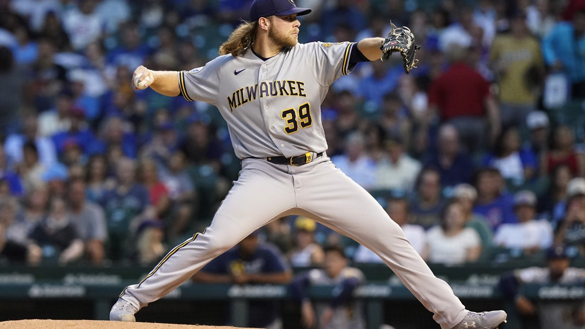 Milwaukee Brewers starting pitcher Corbin Burnes throws against the Chicago Cubs during the...