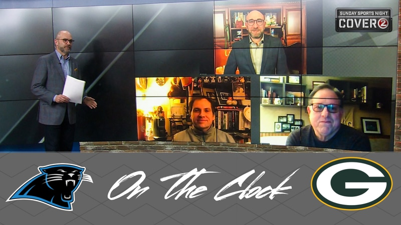 The 'On the Clock' panel features Packers beat writers Rob Demovsky, Jason Wilde and radio's...