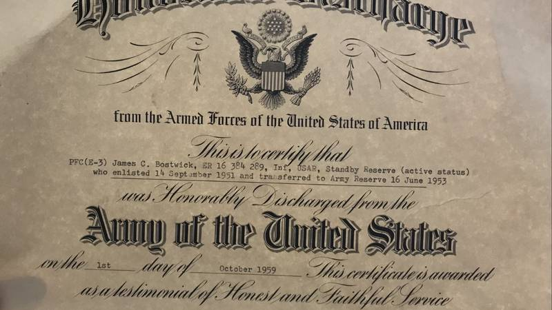 An Honorable Discharge certificate, found in a Fond du Lac home.