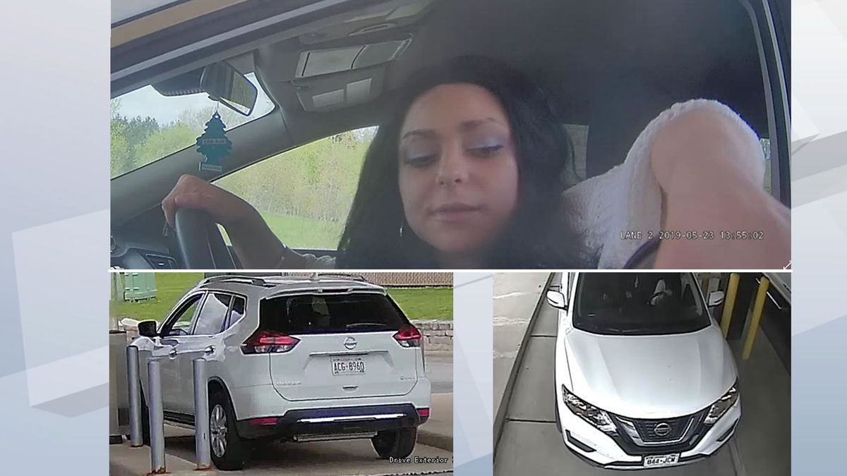Identity theft and bank fraud suspect and the Nissan Rogue she was driving on May 23, 2019. Notice the Rogue as two different license plates (photos provided by Brown County Sheriff's Office). Click for larger image (if browser permits it).
