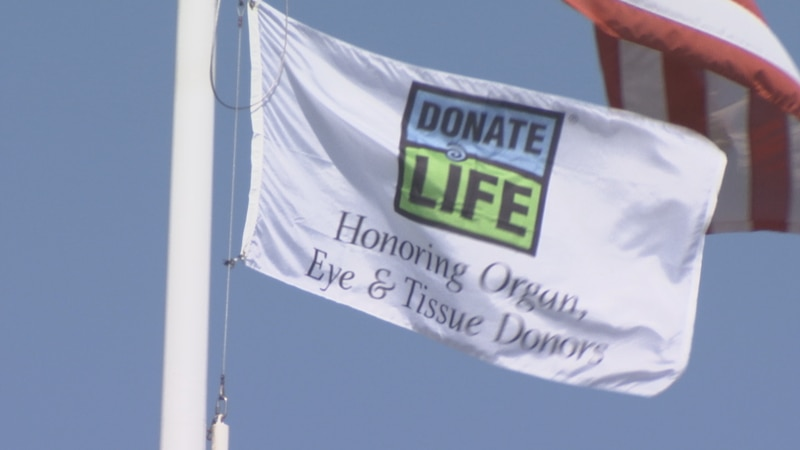 Donate Life flag raised by ThedaCare to recognize Donate Life month.