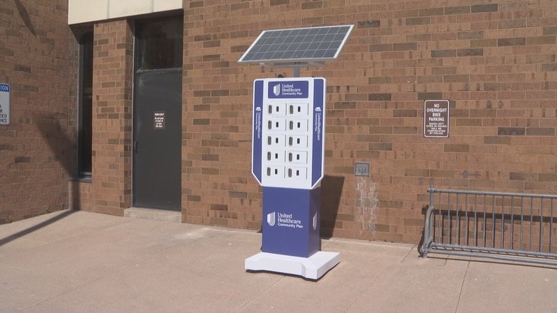 Solar-powered charging station placed outside the Appleton Public Library.