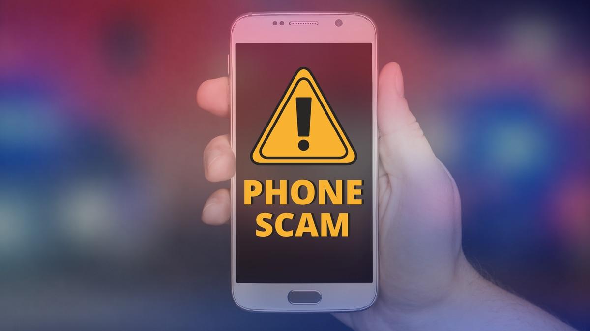 Phone scam graphic.