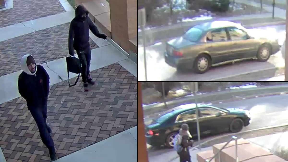 Surveillance photos of robbery suspects and two possible getaway cars on Nov. 14, 2018 (photos:...