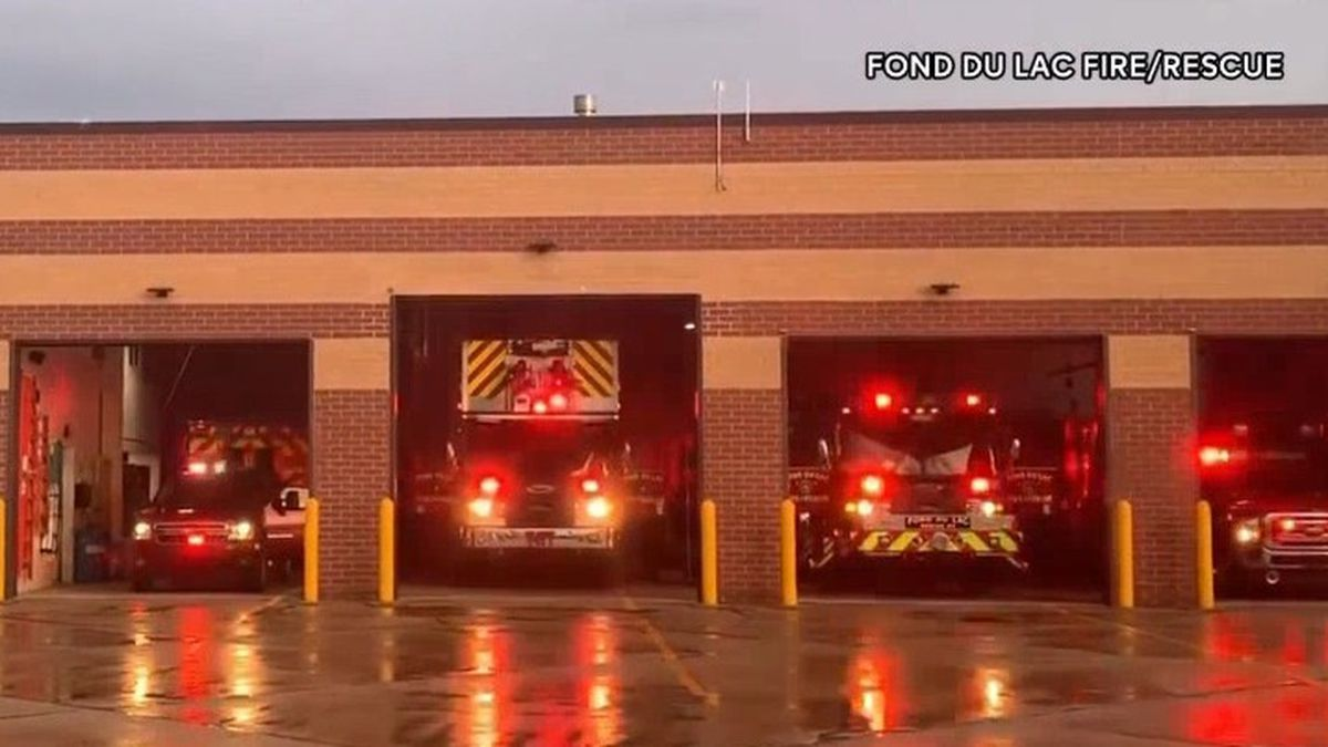 Fond du Lac Fire/Rescue lights up the trucks in solidarity with first responders. March 25,...