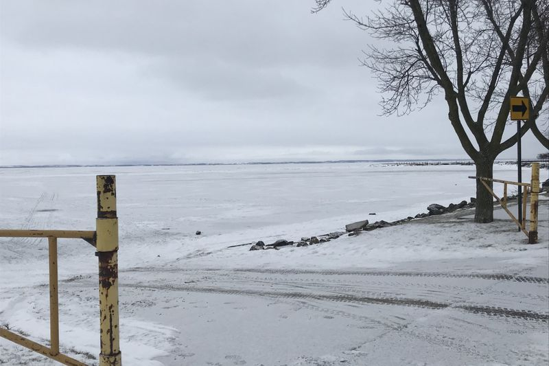 A look at a frozen Lake Winnebago from Oshkosh.