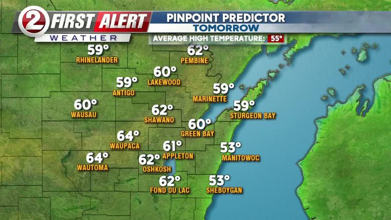 Temperatures should rise into the 60s away from Lake Michigan Sunday afternoon