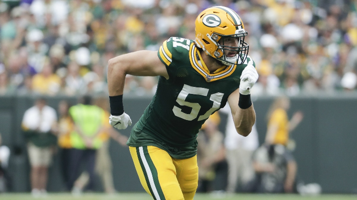 Green Bay Packers' Kyler Fackrell is seen during the first half of an NFL football game against the Minnesota Vikings Sunday, Sept. 15, 2019, in Green Bay, Wis. (AP Photo/Morry Gash)