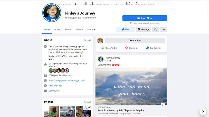 Finley's Journey Facebook page announces the passing of Finley Volkman.