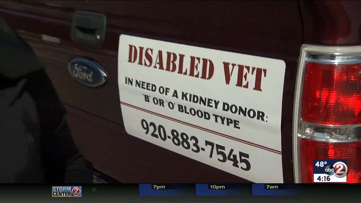 A veteran in dialysis uses his pickup truck to advertise for a new kidney (WBAY file photo)