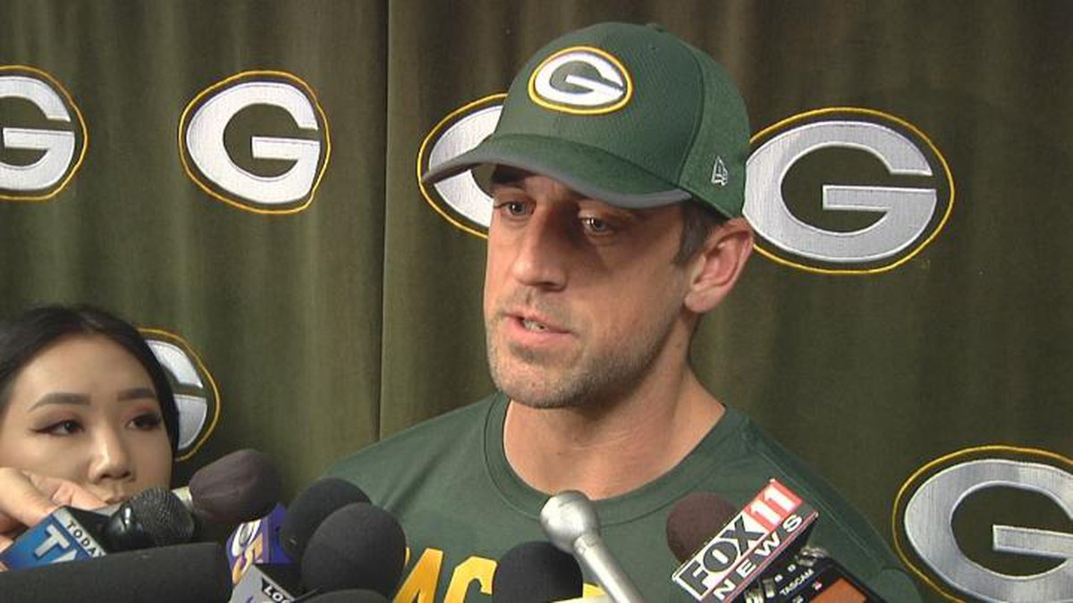 Aaron Rodgers talks to reporters on Tuesday after the start of the Packers offseason workouts.