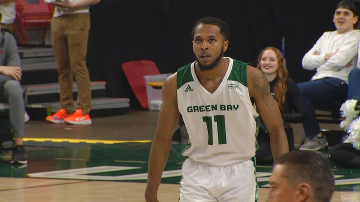 Green Bay senior guard JayQuan McCloud reacts after a made basket in Green Bay's 102-92 win on Thursday night.