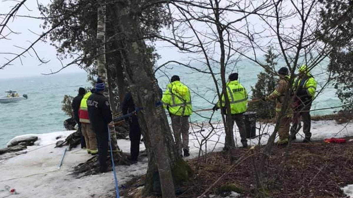 Door County first responders at Cave Point County Park (Door County Sheriff's Office photo via...