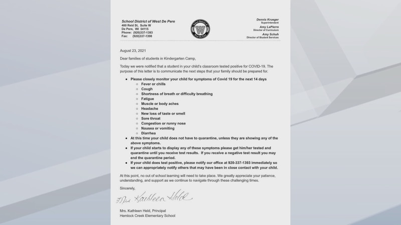West De Pere School district letter