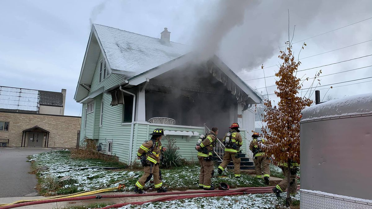 Firefighters were called to the scene around 9:20 a.m. on Monday.