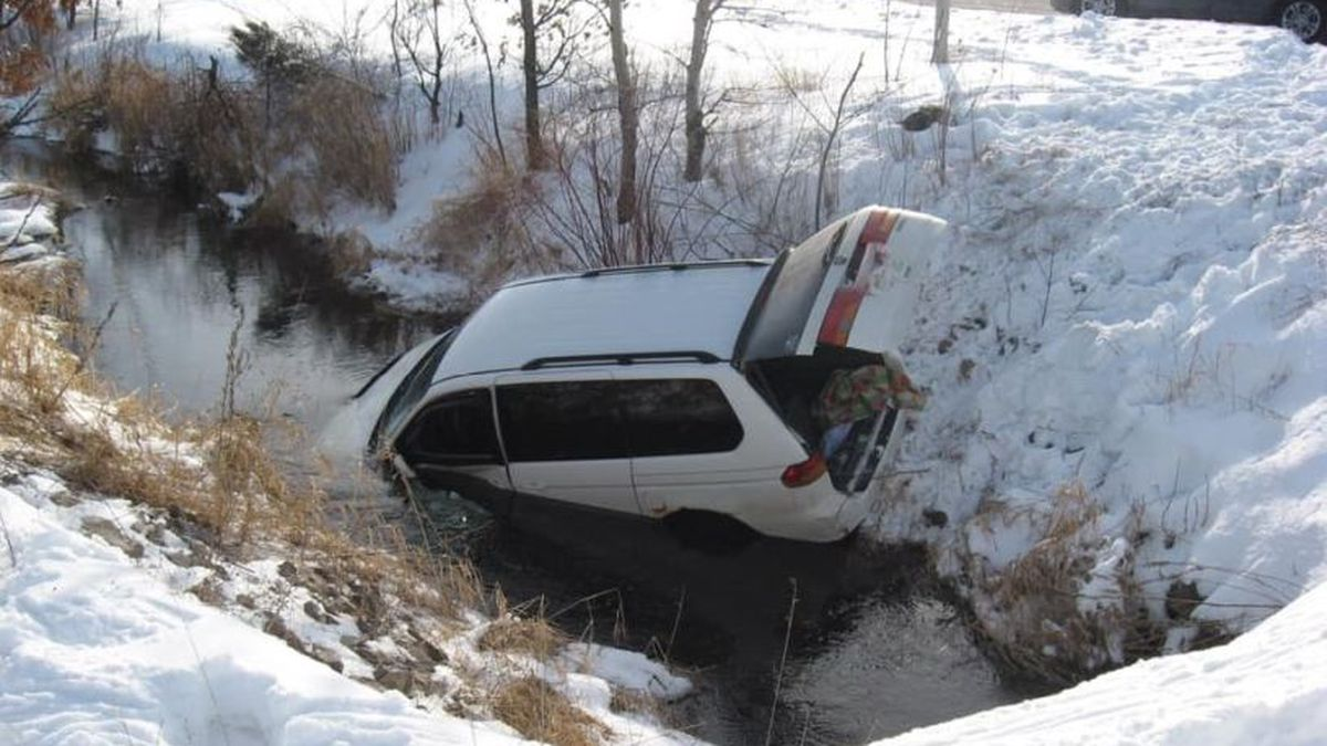 The submerged car in the Leola Canal, about six miles west of Plainfield. (Source: Wisconsin State Patrol's Facebook page)