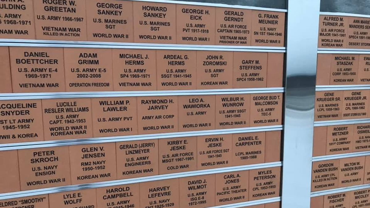 Names on the Oconto Falls Veterans Monument. (WBAY Photo)