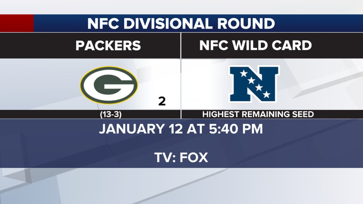 The Green Bay Packers have a first-round bye and then will host a NFC Divisional at Lambeau Field on January 12 at 5:40 PM.