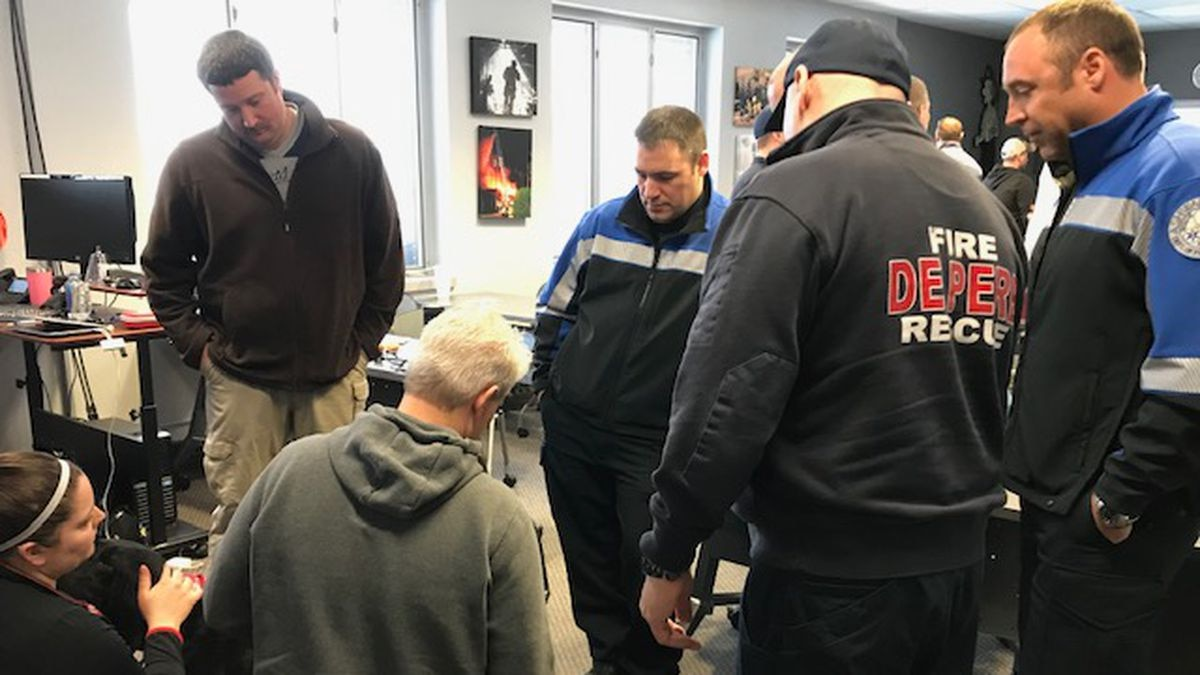 Paramedics and K9 handlers from De Pere Fire Rescue and Ashwaubenon Public Safety learn how to...