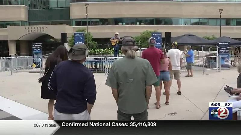 Mile of Music performance at Houdini Plaza in downtown Appleton