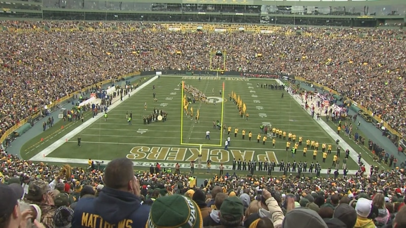 Fans enjoy a game at Lambeau Field in 2012