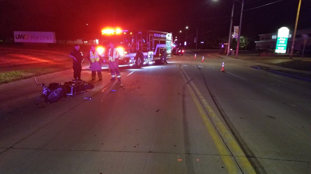 Menasha police say a car hit a motorcycle on Midway Road on June 10, 2021, seriously injuring...